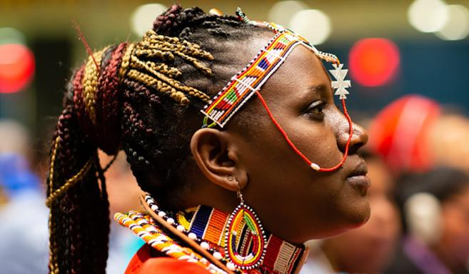 Maasai participant at the 18th Session of the United Nations Permanent Forum on Indigenous Issues (UNPFII). UN/Broddi Sigurdarso